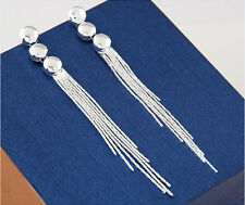 Fashion Vintage Shiny Silver Tassels Chain Long Party drop Dangle Stud Earrings