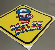 CAPTAIN AMERICA Baby Sign BABY ON BOARD WINDOW DECAL SIGN STICKER WARNING VINYL