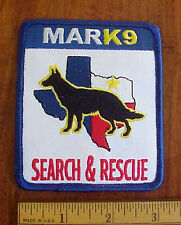 TEXAS LONE STAR STATE MARK9 SEARCH/RESCUE K-9 GERMAN SHEPHERD DOG POLICE PATCH