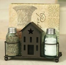 Salt & Pepper Caddy & Shakers Saltbox House Design Dark Brown Primitive Country