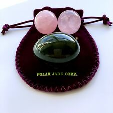 NEW: Genuine Jade Kegel Yoni Egg with Pair of Undrilled Rose Quartz Ben Wa Balls