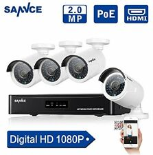 SANNCE 4CH 1080P PoE NVR HD Security Camera System W/ 4 2.1 Megapixels CCTV QR