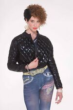 Quilted Jacket Rapper Hip Hop Black Top 80's Halloween Adult Costume Accessory