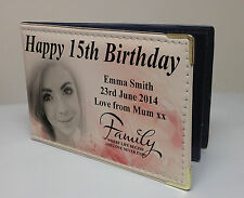 Personalised faux leather photo album, memory book, happy 15th birthday gift
