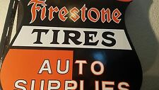 "VINTAGE FIRESTONE TIRES ""AUTO SUPPLIES"" PORCELAIN GAS & OIL FLANGE SIGN, 2 SIDED"