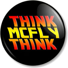"""'THINK McFLY THINK' 1"""" Pin Button Badge Back to the Future 1980s Marty Deloreon"""