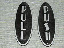 PUSH PULL Door Signs Art Deco Style Silver and Black Steampunk