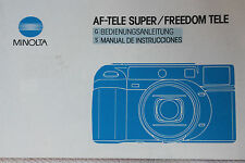 MINOLTA WEATHERMATIC AF TELE FREEDOM 35MM  CAMERA INSTRUCTION MANUAL