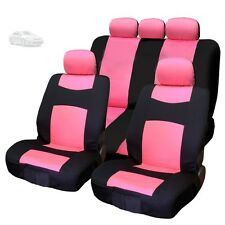 New 9 Pieces Polyester Black and Pink Seat Covers Set For Toyota