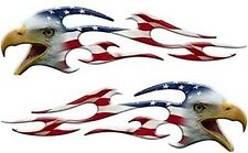 """Motorcycle Tank Eagle Head Flame Decals American Flag 12"""" REFLECTIVE FL10"""