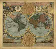 1716 Old Vintage Detailed World Map Reproduction Rolled CANVAS PRINT 27x24 in.