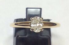 SOLITARE .40 CARAT OVAL DIAMOND ENGAGEMENT 14K YELLOW GOLD RING Sz 6.75