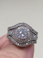 Victoria Wieck 10KT.white gold filled 6mm topaz diamond sim Ring Size 8