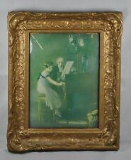 Antique CONVEX Reverse Miniature Glass Painting Girl Playing Piano Royal Gld Frm