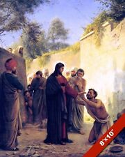 JESUS CHRIST HEALING BLIND MAN PAINTING CHRISTIAN BIBLE ART REAL CANVAS PRINT