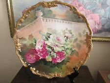 Limoges France Hand Painted Charger Plate Roses Signed A. Rico 13.5""
