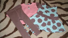 NEW NWOT RABBIT MOON 0-3 DRESS TOP LEGGINGS SET