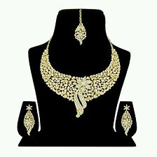 Indian Designer Antique Gold Plated Ethnic Diamond Necklace Earing Jewelery Set