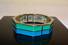 Turquoise Green and Lapis Lazuli Blue Enameled Partially Adjustible Bracelet