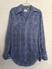 Vintage 60s Wrangler western pearl snap blue plaid mens medium shirt Rockabilly