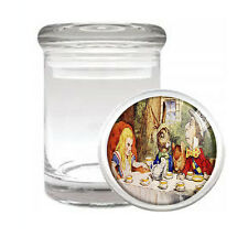 ALICE IN WONDERLAND D11 ODORLESS AIR TIGHT MEDICAL GLASS JAR CONTAINER RABBIT