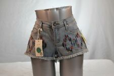 """ROXY"" RIPPED DENIM BOOTY JEAN SHORT SHORTS W/ MULTI-COLOR AZTEC DESIGN size 7"