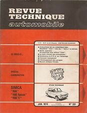REVUE TECHNIQUE AUTOMOBILE 331 RTA 1974 SIMCA 1100 SPECIAL & 1100 TI PEUGEOT 504