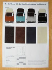 VOLKSWAGEN Golf Convertible GLi orig c1980 UK Market Colour & Trim brochure - VW