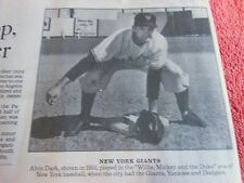1922-2014 ALVIN DARK OBITUARY NEW YORK GIANTS ALL STAR SHORTSTOP