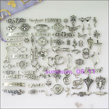 70Pcs Tibetan Silver Love Cross Flower Butterfly etc.Mixed Charms Connectors