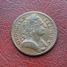 George III 1773 copper farthing with some lustre