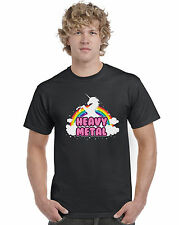 Unicorn Heavy Metal T Shirt Funny Parody Top Tee Mens (5 Colours)