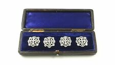CASED SET OF 4 EDWARDIAN STERLING SILVER BUTTONS GOLDSMITHS & SILVERSMITHS 1903