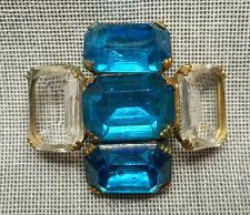 Vintage Jeweled Button - Prong Set Chunky Clear & Blue Glass Faceted Stones