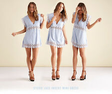 Suboo Stevie Cornflower Ice Blue Lace Cut Out Mini Sundress Beach Cover Up 8 10