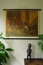 VINTAGE HISTORICAL PULL / ROLL DOWN SCHOOL WALL CHART / POSTER OF EGYPTIANS