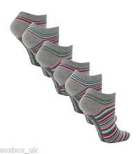 6 Pairs AT24 Ladies Soft Top Cotton Trainer Socks Pink/Aqua Stripe Size 4-8 UK