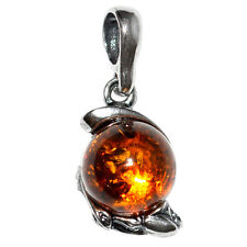1.81g Authentic Baltic Amber 925 Sterling Silver Pendant Jewelry A1587