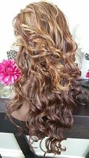 Beautiful Honey/Golden Blonde Mix/Brown Nape Lace Front Wig Long Curly Ht Sf