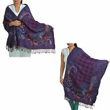 Sanskriti Pashmina Hand Embroidered Boil Wool Shawl Scarf Purple Stole