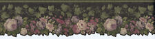 Satin Purple, Burgundy, Cream Flowers with Leaves & Ivy Wallpaper Border 62740DC