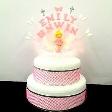 Double name ballerina, christening feather,   Birthday/Celebration cake topper