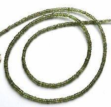 """Natural Very Rare Gem Green Sapphire Faceted 3MM Rondelle Beads Necklace 19"""""""