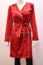 FAUX SATIN COLLARED SELF TIE WAIST BELT LONG ROBE COAT RED 18