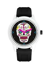Black & White Day Of The Dead Suger Skull Men's Or Ladies Silicone Wrist Watch