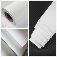 Car SUV Interior WHITE Twill-Weave Carbon Fiber Vinyl Wrap Sheet Decal Sticker A