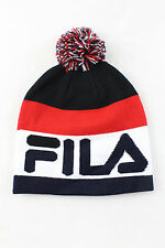 Fila Stanco Knitted Bobble Beanie Hat Peacoat Navy Red White One Size