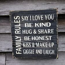 Hand made Family Rules wood sign -Primitive Rustic Country Home Decor sign