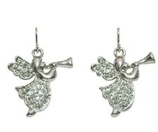 Hark the Herald Angel Pierced Earrings ~Silver-Tone with Sparkling Crystals~