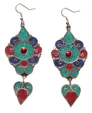 Magnificent Mandala - Turquoise, Navy Blue & Red Swirl Metal Earrings(Ns9 tray)